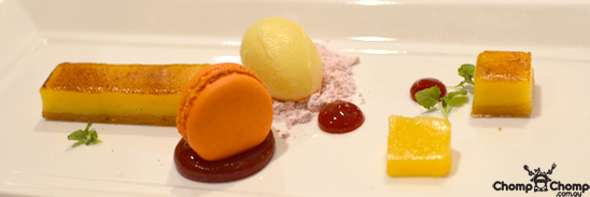 """Caramelised mandarin tart"" ""raspberry gel"" ""mandarin macaron"" ""sorbet"" ""Perth Restaurant Reviews"" ""food photos"" ""Perth food blog"" ""food blog"" ""Chompchomp"" ""Gluten free"" ""Fructose malabsorption"" ""Clarke's of North Beach, North Beach"" ""Clarke's of North Beach"" ""North Beach"" ""degustation"" ""truffle"" ""modern australian"""