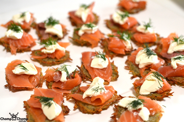 """Smoked salmon"" ""potato blinis"" ""Perth Restaurant Reviews"" ""food photos"" ""Perth food blog"" ""food blog"" ""Chompchomp"" ""Gluten free"" ""Fructose malabsorption"" ""recipe blog"" ""gluten free recipe"" ""Christmas gluten free"" ""Christmas"" ""lunch"" ""seafood"" ""entertaining"""