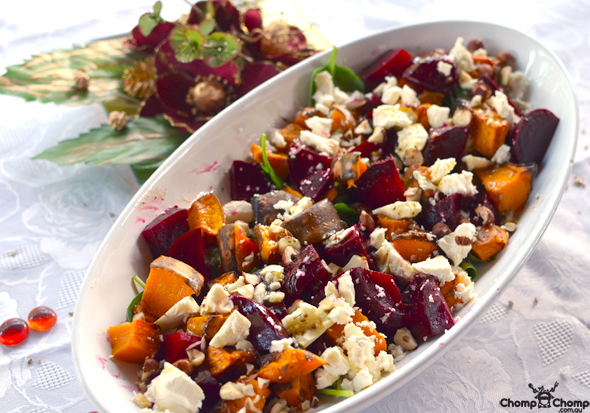 """Roasted beetroot"" ""roast pumpkin salad"" ""rocket"" ""hazelnuts"" ""feta"" ""vegetarian"" ""salad"" ""Perth Restaurant Reviews"" ""food photos"" ""Perth food blog"" ""food blog"" ""Chompchomp"" ""Gluten free"" ""Fructose malabsorption"" ""recipe blog"" ""gluten free recipe"" ""Christmas gluten free"" ""Christmas"" ""lunch"" ""seafood"" ""entertaining"""