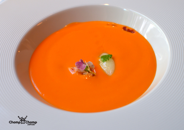 """gazpacho"" ""poached lobster"" ""caramelised roasted almonds"" ""melon sorbet"" ""jamón"" ""Perth Restaurant Reviews"" ""food photos"" ""Perth food blog"" ""food blog"" ""Chompchomp"" ""Gluten free"" ""Fructose malabsorption"" ""Spain Food blog"" ""Spain restaurant reviews"" ""Spain travel blog"" ""Barcelona Food blog"" ""Barcelona restaurant reviews"" ""Barcelona travel blog""""Spain"" ""Barcelona"" ""Barcelona restaurants"" ""gluten free Barcelona"" ""gluten free Spain"" ""barcelona fine dining"" ""barcelona degustation"" ""barcelona michelin star"" ""Jordi Esteve"" ""Nectari restaurant"" ""gluten free degustation"" ""Michelin restaurant"""