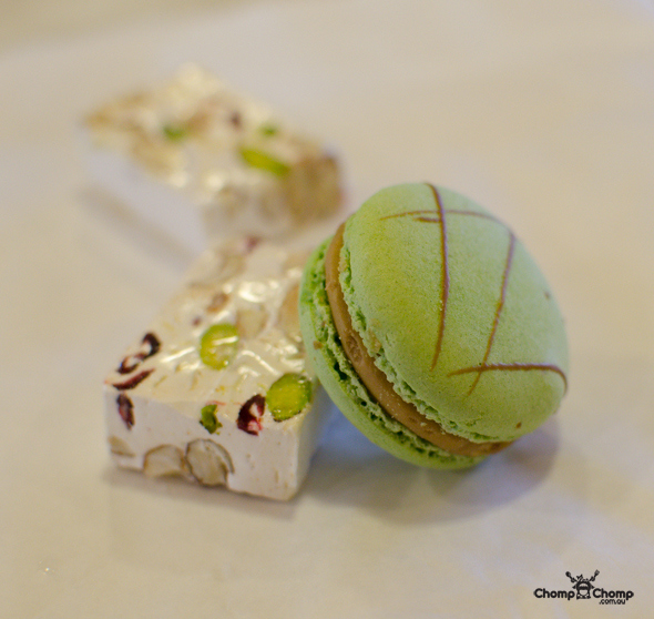 """Pistachio macaron"" ""macaron"" ""cranberry and pistachio nougat"" ""nougat"" ""Mondo Nougat"" ""Moorish Nuts"" ""Perth Restaurant Reviews"" ""food photos"" ""Perth food blog"" ""food blog"" ""Chompchomp"" ""Gluten free"" ""Fructose malabsorption"" ""Perth restaurants"" ""Perth food reviews"" ""swan valley"" ""Middle swan"" ""Swan Valley food reviews"" ""swan valley reviews"" ""swan valley"" ""gluten free"" ""local produce"" ""Swan Valley wines"" ""Swan Valley Tours"" ""Perth tours"" ""Taste bud tours"" ""speed grazing"" ""Perth activities"" ""winery region tours"" ""Swan valley region"" ""food tour"""