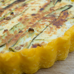 Polenta quiche with zucchini and goats cheese (vegetarian, gluten free)